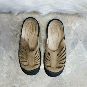 KEEN Tan Brown Nubuck Leather Slide Sandals Sz 6.5